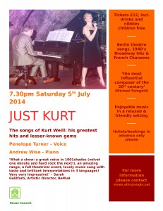 Just Kurt house concert website poster